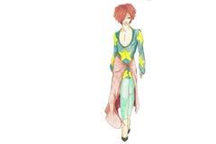 modell för mode 80 s royaltyfri illustrationer