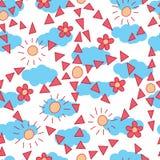 Modell för moln för sol för blommastiltriangel sömlös vektor illustrationer
