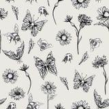 Modell för monokrom tappning för sommar blom- sömlös royaltyfri illustrationer