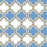 Modell för moroccan repetition för vektor sömlös Ljust - blå guld- beige linje på vit bakgrund stock illustrationer
