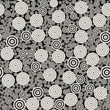 Modell för mosaisk röra vektorBW för koncentriska cirklar sömlös Arkivbilder
