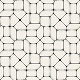 Modell för mosaisk trottoar för vektor sömlös svartvit Fotografering för Bildbyråer