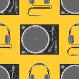 Modell för musikalisk utrustning för vektor sömlös Arkivfoto