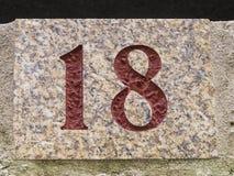 modell för nummer för 18 dörr trägammal öppen Royaltyfria Bilder