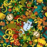Modell för nytt år för klotter för tecknad film gullig sömlös royaltyfri illustrationer