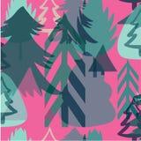 Modell för nytt år för ferie för Retro tappning grafisk flerfärgad älskvärd av julgranvektorn vektor illustrationer
