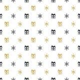 Modell för nytt år för jul sömlös med gåvasnöflingor Svart bakgrund för ferie Guld- vit gåva Xmas-vinterklotter royaltyfri illustrationer
