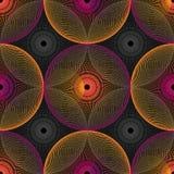 Modell för op konst för abstrakt vektor sömlös Färgrik popkonst, grafisk prydnad optisk illusion Royaltyfria Bilder