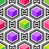 Modell för op konst för abstrakt vektor sömlös Färgrik popkonst, grafisk prydnad optisk illusion stock illustrationer