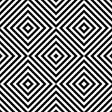 Modell för op konst för abstrakt vektor sömlös med romben Monokrom grafisk svartvit prydnad Randig optisk illusion vektor illustrationer