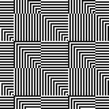 Modell för op konst för abstrakt vektor sömlös Monokrom grafisk prydnad vektor illustrationer