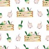 Modell för organiska grönsaker för vattenfärgträdgård sömlös och träask Utdragen bakgrund för hand med träasken, salla royaltyfri illustrationer