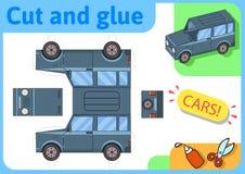 Modell för papper för SUV av-väg lastbil Litet hem- hantverkprojekt, papperslek Klipp ut, vik och limma Utklipp för barn royaltyfri illustrationer