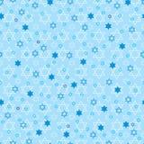 Modell för pastellfärgad symmetri för Chanukkahstjärnablått sömlös stock illustrationer