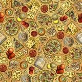 Modell för pizza för tecknad film gullig hand dragen sömlös vektor illustrationer