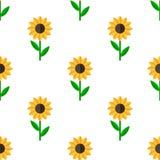 Modell för plan symbol för solros sömlös Royaltyfria Bilder