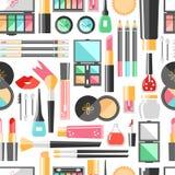 Modell för plana skönhetsmedel för vektor sömlös Skönhetmodeprodukter stock illustrationer