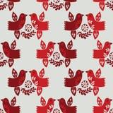 Modell för röda folk fåglar för vektorjul sömlös royaltyfri illustrationer