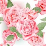Modell för röda rosor för vattenfärg sömlös Arkivfoton