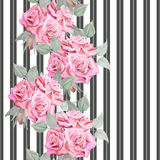 Modell för röda rosor för vattenfärg sömlös med band Royaltyfri Bild