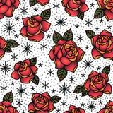 Modell för röda rosor för Oldschool traditionell tatueringvektor sömlös royaltyfri illustrationer