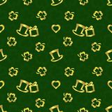 Modell för repetition för dag för StPatrick ` s sömlös, guld- textur på mörker - grön bakgrund Royaltyfria Bilder