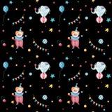 Modell för retro cirkus för vattenfärg sömlös Utdragen tappningbakgrund för hand med karnevalobjekt: luftballonger, clown, kanin  stock illustrationer