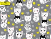 Modell för rolig katt för vektor sömlös Gullig dragen illust för kattunge hand Arkivbild