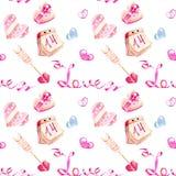 Modell för romantiska beståndsdelar för vattenfärg för dag för valentin` s sömlös stock illustrationer