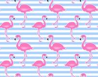 Modell för rosa flamingo för vektor sömlös tropisk bakgrundssommar royaltyfri illustrationer