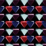 Modell för sömlös abstrakt vektor för diamantsymbol färgrik skuggad upprepande på svart bakgrund Arkivbild