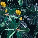 Modell för sömlös härlig konstnärlig ljus sommar för Hawaii tryck tropisk med exotiska skogväxter stock illustrationer