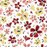 Modell för sömlös repetition för vektor färgrik blom- med rosa färger, rost- och gulingblommor och vit bakgrund stock illustrationer