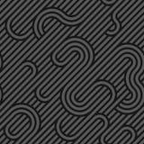 Modell för sömlös väv för vektor mörk geometrisk - - grå randig kurvtextur Ändlös bakgrund stock illustrationer