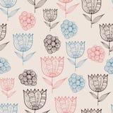 Modell för sömlöst klotter för vektor blom- med tulpan royaltyfri illustrationer