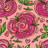 Modell för sidor för blommor tre sömlös Royaltyfri Bild