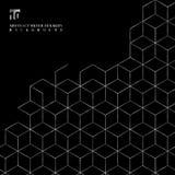 Modell för silversexhörningsgräns på svart bakgrund vektor illustrationer