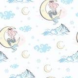 MODELL för SJÖJUNGFRU för MÅNE för modell för nytt år för glad jul för parti för bröllopfödelsedagferie sömlös royaltyfri illustrationer