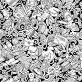 Modell för skola för klotter för tecknad film gullig hand dragen sömlös vektor illustrationer