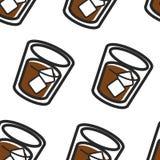 Modell för skotsk nationell drink för för whiskycola och is sömlös stock illustrationer