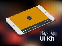 Modell för smartphone för app UI för mobil för massmediaspelare Royaltyfria Bilder