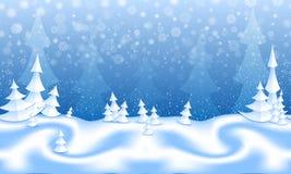 Modell för snöig skog för tecknad film sömlös Royaltyfria Foton