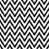 Modell för sparre för etniskt ikatabstrakt begrepp geometrisk i svartvitt, vektor Royaltyfria Bilder