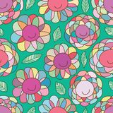 Modell för stam- stil för blommaleende sömlös royaltyfri illustrationer
