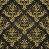 Modell för svart utsmyckad damast bakgrund för vektor sömlös abstrakt dekorativ elegant Royaltyfri Bild
