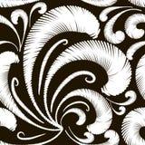 Modell för svartvit tappning för broderivektor sömlös flor Stock Illustrationer