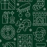 Modell för symbol för nytt år för jul sömlös vektor illustrationer
