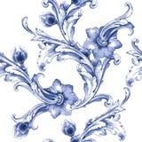 Modell för textur för vektorvattenfärgblått Arkivbild