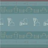 Modell för trädgårds- hjälpmedel på blå bacground Vektor Illustrationer