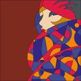 Modell för trendig kvinna klaff Art décomålat glassmodell vektor illustrationer